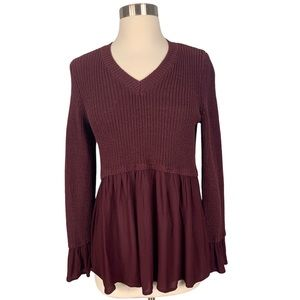 {Altar'd State} V-Neck Ruffled Rowena Sweater
